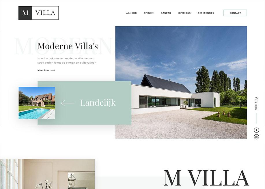 Dynamische website lay-out - MVilla website